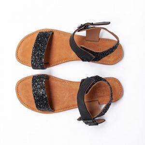 Lilliana Black Leather Sandals