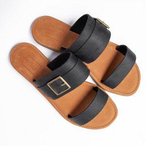 Salome Black Leather Sandals
